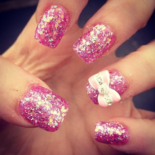 (;, bow, girly and glitter nails