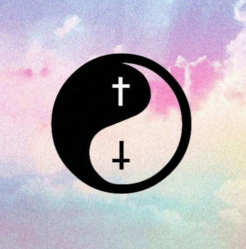 Beautiful Cross Hipster Inverted Sky Vintage Ying Yang Pictures