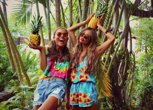 amazing, beautiful, clothes, colorful, festival, friends, fruit, girl, girls, hipster, holiday, indie, outfit, paradise, party, peace, pinapple, pretty, style, summer, tanned