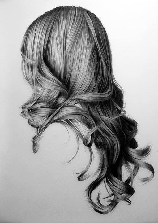 black and white, curly hair, draw, fashion, girl, hair, long hair, style