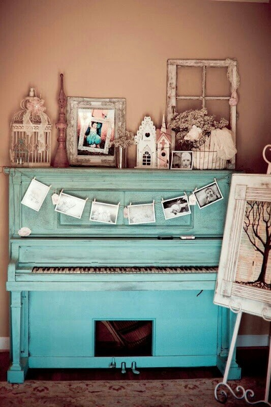 Blue Bohemian Interior Design With Vintage Style: Pianos - Image #798273 By Alroz On Favim.com