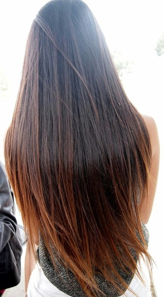 brown to light brown ombre hair for long straight hair