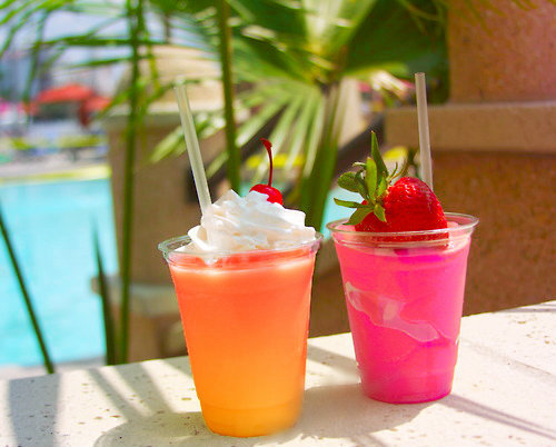 cold, drinks, fresh, girly, orange, pink, strawberry, summer, tropical ...