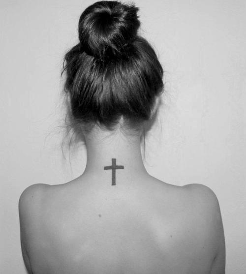 Small Cross Tattoo On Neck