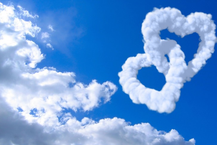 blue, cloud, heart and love