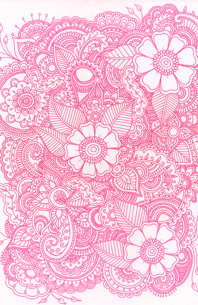 henna design pink art print by haleyivers image