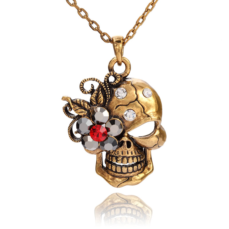fashion, flower skull necklace, skull necklace and skull pendant