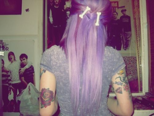alternative, girl, photography, pretty, purple hair, tattoos