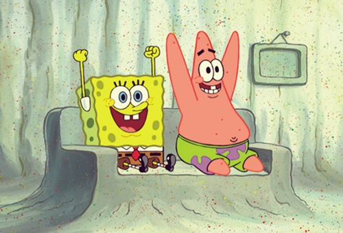 bestfriends, happy, patrick, spongebob, ∞