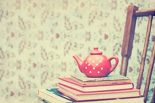 books, chair, tea and vintage