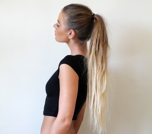 dip dyed, dip dyed hair, fashion, girl, hair, long hair, love, ponytail