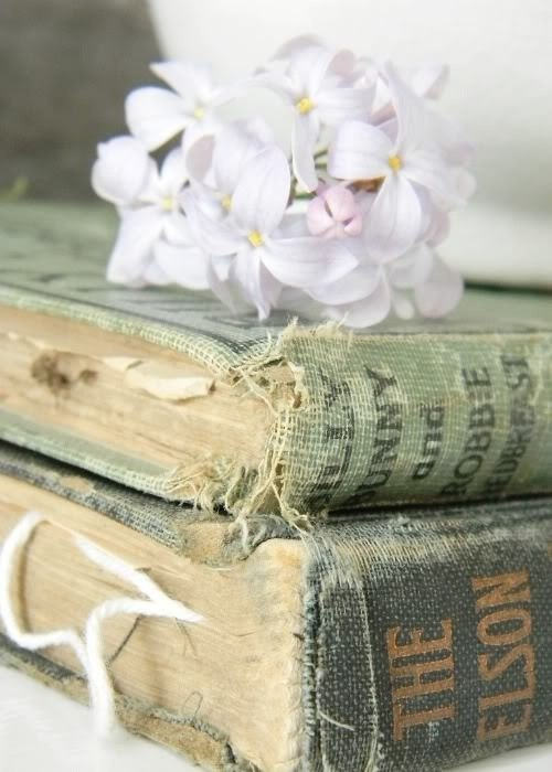 books, flowers, old and shabby chic