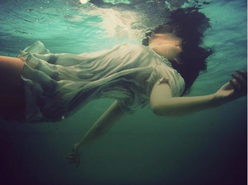 dress, drown, girl and water