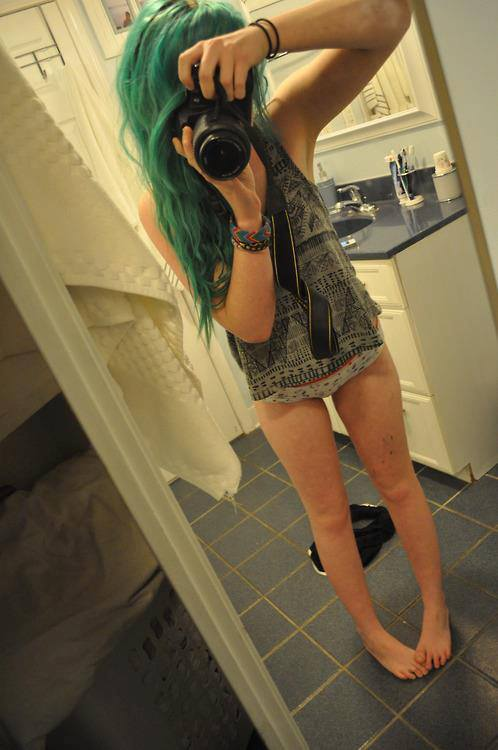 alternative, girl, green and hair