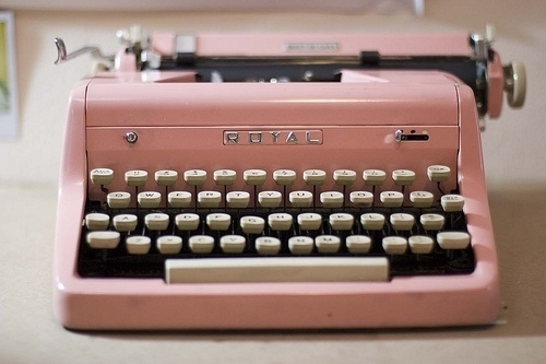 cute, imagination, imagine, pink, sweet, write, type machine