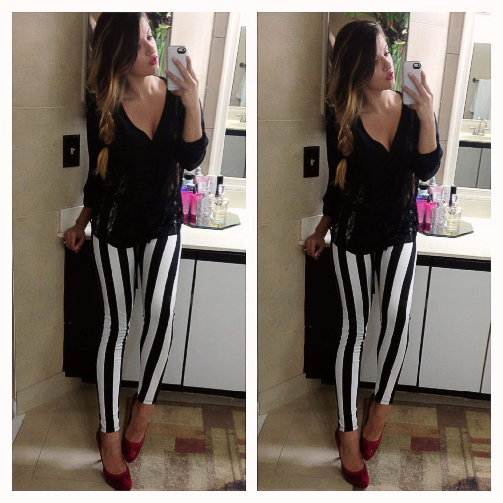 black and white, fashion, outfit and b&w striped pants