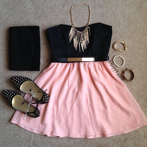 black, fashion, vintage, lovely, outfits, pink