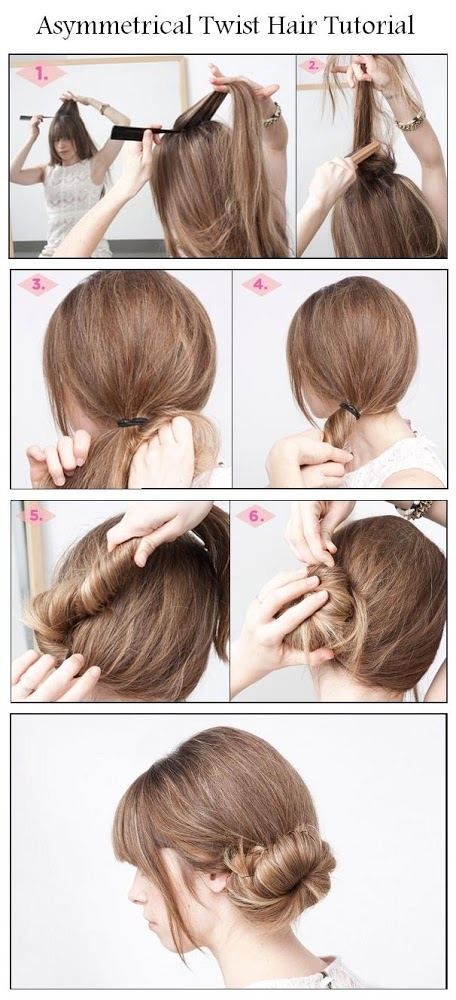 Diy asymmetrical twist hair hairstyle diy fashion tips Diy fashion of hairstyle