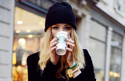fashion, winter, girl, starbucks coffee, style