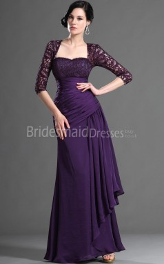 Purple Bridesmaid Dresses Sleeves