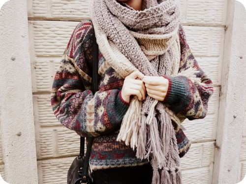 autumn, cold, fall, fashion, girl, oversized, photography, scarf, style, sweater, tumblr, winter