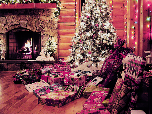 christmas, christmas tree, lights, fire place, holidays, photography, pretty, christmas presents, colorful