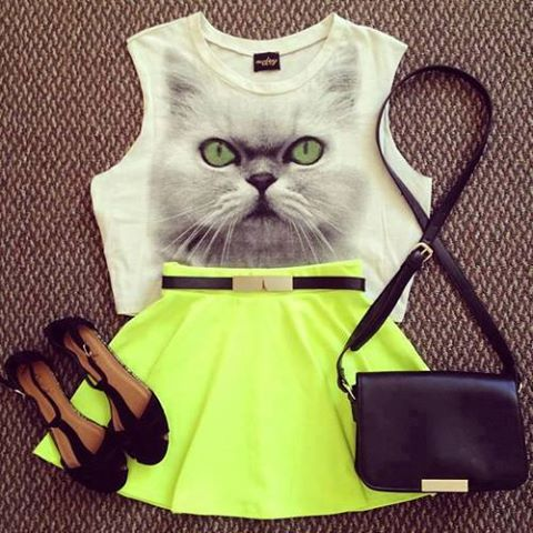 fashion, bag, cat, fluorescent, shoes, girly