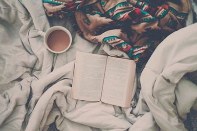 vintage, bed, girl, book, coffee, photography