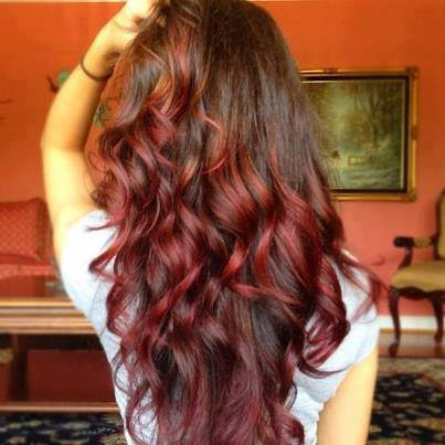 brown, burgundy, curls, dip dye, dipdye, hair, highlights, long, red, waves, wavy