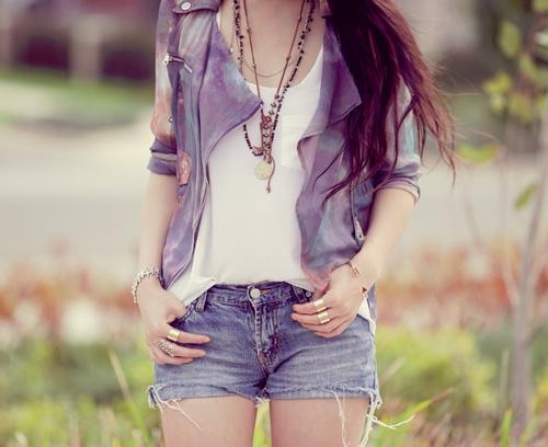 brown hair, fashionable, girly, clothes, jeans, hair, style, summeroutfit, clothe, girl, fashion, necklace, swag, hairs, jewel, long hair, summer, jean, outfit, short, shorts