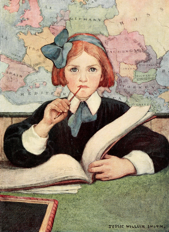 art, book, books, child, country, formal, girl, homework, illustration, map, notebook, painting, red hair, ribbon, scholar, school, smart, study, studying, thoughts, watercolor, world, judicious