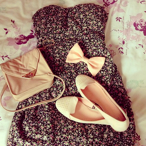 beauty, bow, cute, dress, fashion, flats, floral, flowers, girl, girly, pink, style, shoes dress bag bow