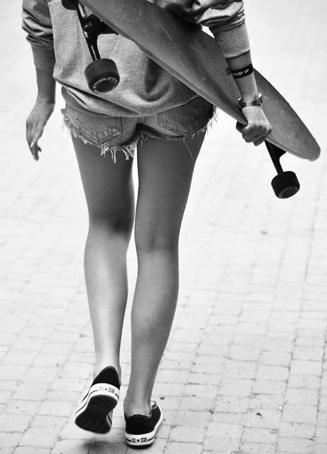 california, girl, longboarding, shorts, skater girl, skating, summer