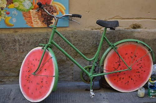 awesome, bycicle, cool, watermelon