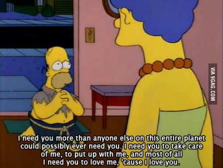 cute, homer, love and marge