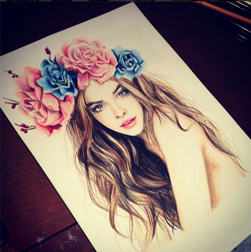 Girl with flower crown drawing - photo#51