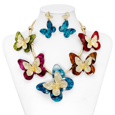 acrylic butterfly necklaces, Gold Acrylic Butterfly Jewelry Set Necklace Earrings, butterfly necklace earrings sets and acrylic necklace earrings sets