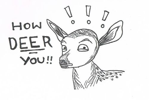 art, deer, drawing and funny