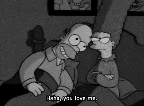 black and white, cute, homer and love