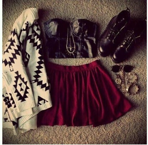 clothes, crop top, outfits, shirt, shoes, skater skirt, skirt, sunglasses, sweater
