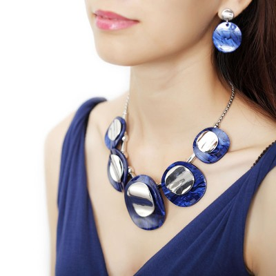 acrylic jewelry sets, acrylic necklace earrings sets, Double Round Acrylic Jewelry Set Silver and silver acrylic jewelry sets