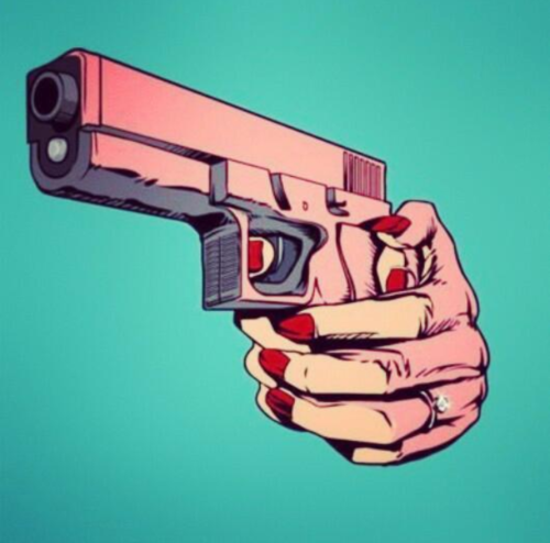 comic, diamond ring, gun, red nails, woman