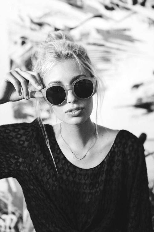 beautiful, black and white, girl and glasses