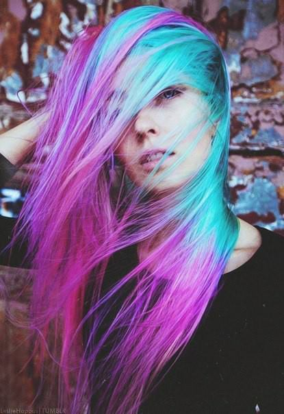 alternative, beautiful girl, blue hair, color hair, cute girl, fashion, pink hair, purple hair, scene girl, style