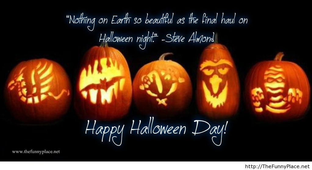 Halloween Night Quote With Pumpkins On Wallpaper Image