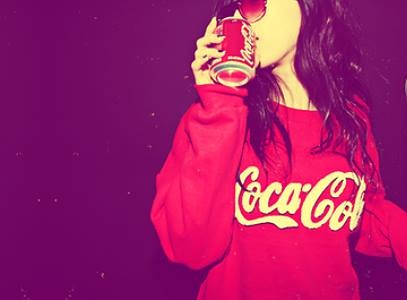 coca cola, cool, girl, photography, night, party, red, sweater