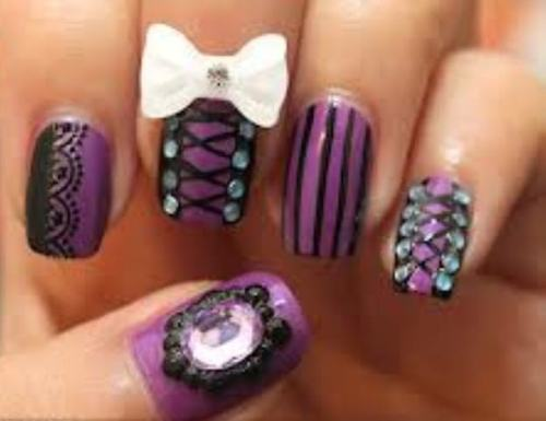 View Images Emo nail art designs ... - Emo Nail Designs Pictures ~ Items Similar To Rock Emo Chick Nail
