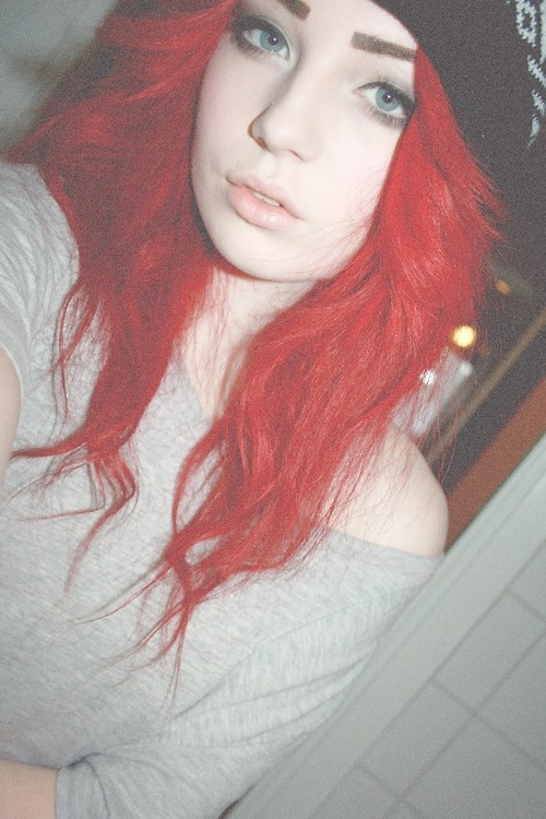 Pretty tumblr girl with red hair