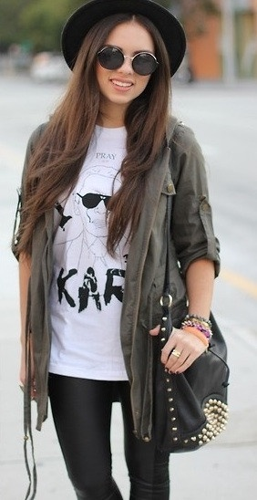 army, brunette, edgy, fashion, pretty, streetstyle, style