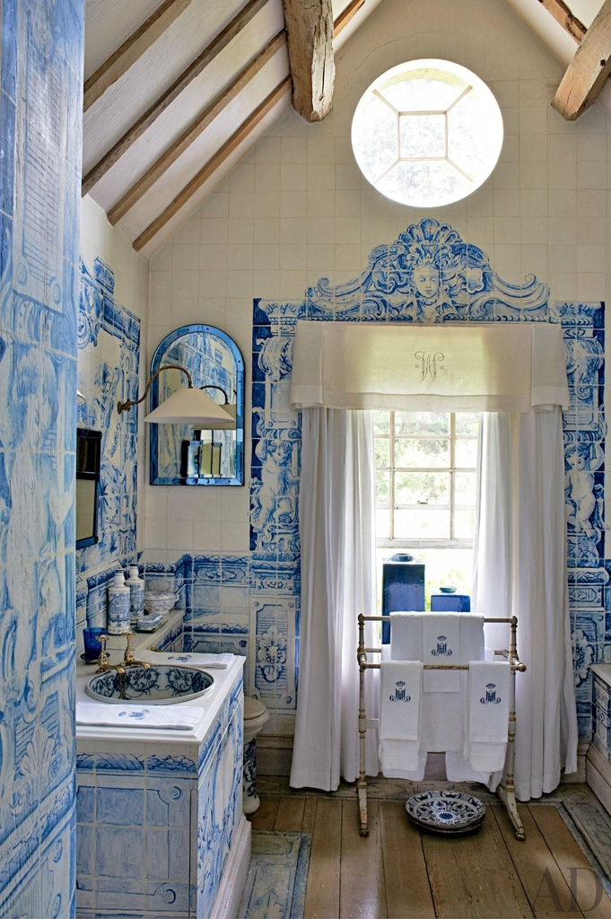 architecture, baroque, bathroom and blue